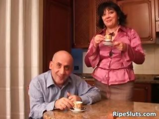 horny brunette cougar chick blows guys penis part5