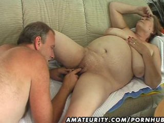 chubby cougar young woman sucks and gangbangs