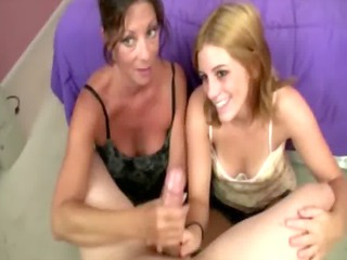 mum and daughter bond over a handjob