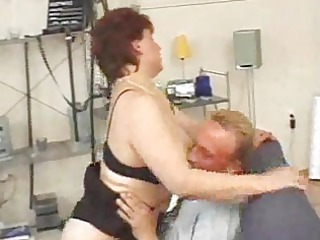 elderly red-haired sucks and sucks and spits on