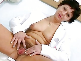 sexy mature babe inside doctor uniform stretching