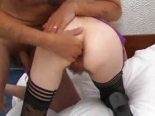 shaggy cougar vagina fisted and pierced by troc