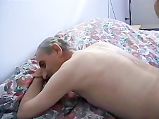 inexperienced masseuse drilled by grandpa