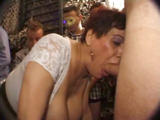 naughty french cougar sucks cock with a more