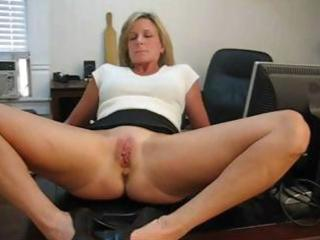 grown-up albino associate spreads her feet and