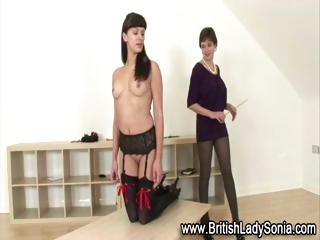 grown-up british girl sonia punishes lingerie amp