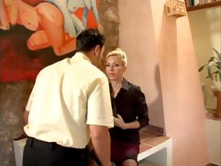 busty milf boss calls the shots, in the workplace