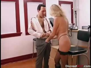 awesome grown-up secretary seducing younger boss
