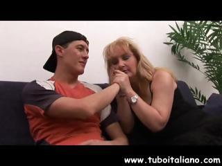 horny cougar european blonde obtains fingered and
