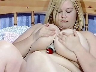 big boobed blonde lady hoe toys her hungry vagina