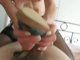 fucker obtains a awesome shoe job by woman and