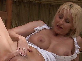 nasty bleached momma with giant bosom in white