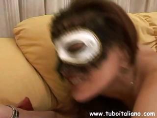 fresh busty brunette english woman into a mask