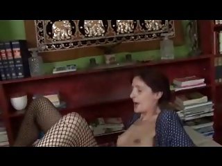 slim saggy tiny breast old in fishnets gang-bangs