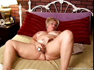 older inexperienced with giant bossom works her