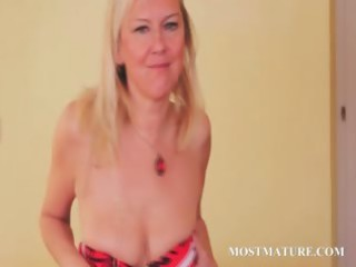 porn bombard blonde grownup sensually stripping