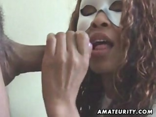 masked nonprofessional chick licks ramrod with