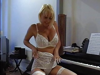 busty pale woman into sexy punch underwear fist