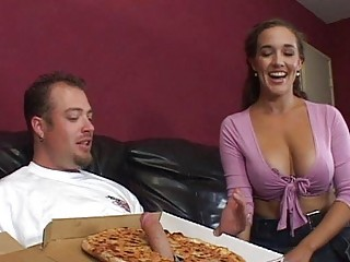 milf with big chest gives a blowjob to a pizza