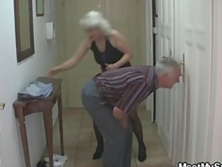 man caught his babe with his old milf and dad