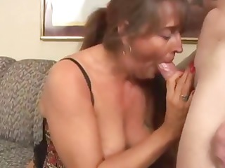 horny, plump brunette old eats penis and next