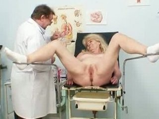 blonde grandma kinky pussy exam with enema