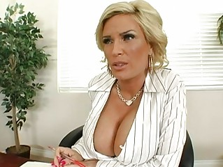 shocking blonde milf with large boobs playing a