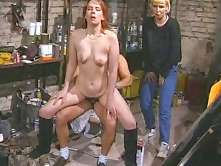 redhead fresh mature babe sucks and gangbangs