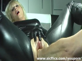 pale housewife violently fisted inside her loose