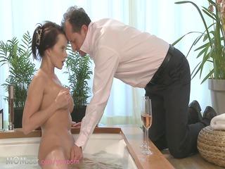 woman duo make love into a hot bathroom