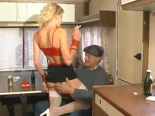cheap french hooker gang-banged & sprayed by