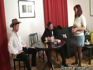 poker masturbating old is pierced by two men