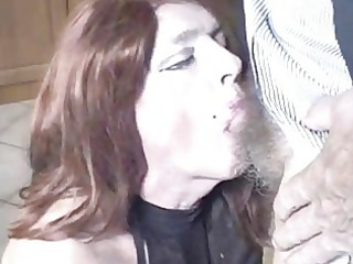 mature crossdresser cock licking