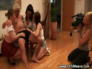 girl films chicks wanking an elderly mans penis