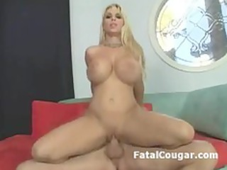 pale cougar bitch with large tits licks huge dick