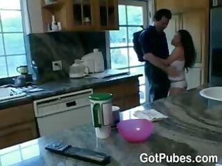 woman with bushy vagina pushing dildo a guy
