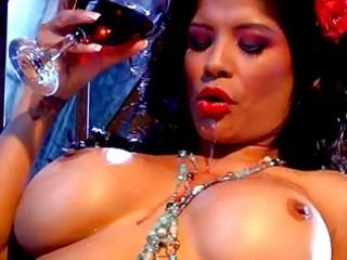 wonderful black haired chick with big bosom