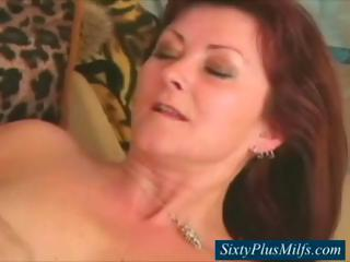 elderly lets her firm breast jiggle as she