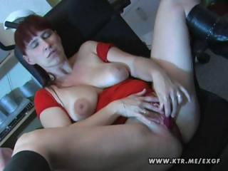 busty brunette young wife toys herself and later