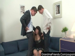 fat cougar seduced by two amateur guys