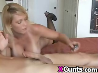 horny albino woman smokes and gives fellatio