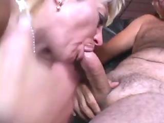 elderly pale licks a guy in a washroom