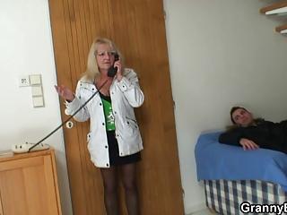 lad picks up blonde granny and fucks her