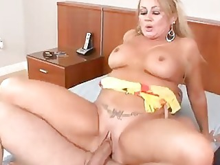 mature blonde loves his hot white cream