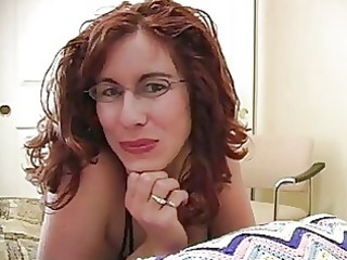 dick adoring red-haired lady with glasses gets