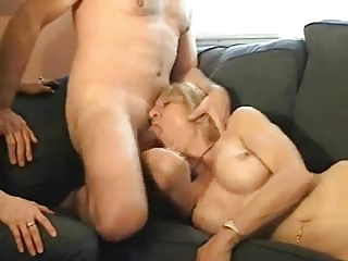 housewife lets friend lick him off