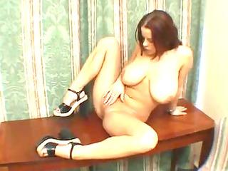 youthful lady polishes herself to large o