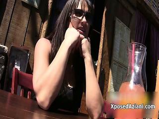 very impressive brunette lady takes slutty