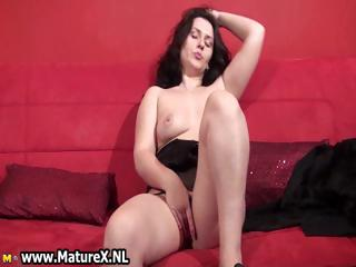 grown-up brunette housewife touching part4