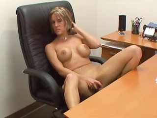 busty bleached woman assistant fist pussy and
